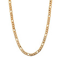 "Men's Figaro-Link Gold Ion-Plated Chain Necklace 22"" (6.5mm)"