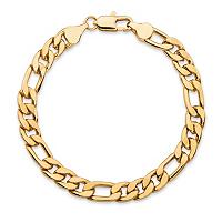 Men's Figaro-Link Gold Ion-Plated Chain Bracelet