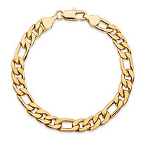 Men's Figaro-Link Gold Ion-Plated Chain Bracelet 8