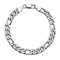 "Men's Figaro-Link Chain Bracelet in Silvertone 8"" (6.5mm)"
