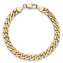 "Men's Curb-Link Chain Bracelet Gold Ion-Plated 8"" (6.5mm)"