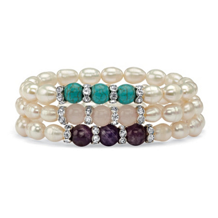 """Cultured Freshwater Pearl and Gemstone Accent Three-Piece Stretch Bracelet Set in Silvertone 8"""" at PalmBeach Jewelry"""