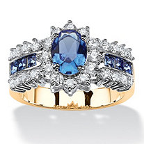 .82 TCW Oval-Cut Sapphire Blue Crystal and White Cubic Zirconia Two-Tone Halo Ring MADE WITH SWAROVSKI ELEMENTS 14k Gold-Plated