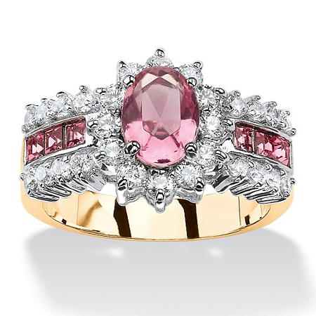 .82 TCW Oval Pink Crystal and CZ Two-Tone Halo Cocktail Ring MADE WITH SWAROVSKI ELEMENTS 14k Gold-Plated at PalmBeach Jewelry