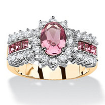 SETA JEWELRY .82 TCW Oval Pink Crystal and CZ Two-Tone Halo Cocktail Ring MADE WITH SWAROVSKI ELEMENTS 14k Gold-Plated