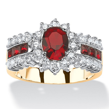 .82 TCW Oval-Cut Garnet Red Crystal and White Cubic Zirconia Two-Tone Halo Ring MADE WITH SWAROVSKI ELEMENTS 14k Gold-Plated at PalmBeach Jewelry