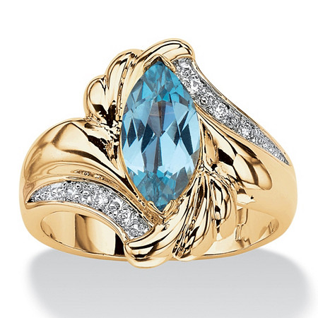 2.05 TCW Marquise-Cut Aqua Cubic Zirconia Bypass Cocktail Ring 14k Gold-Plated at PalmBeach Jewelry