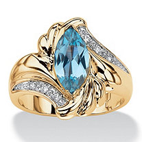 2.05 TCW Marquise-Cut Aqua Cubic Zirconia Bypass Cocktail Ring 14k Gold-Plated