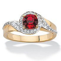 Round Simulated Red Ruby and White Pave Crystal Two-Tone Halo Cocktail Ring 14k Gold-Plated