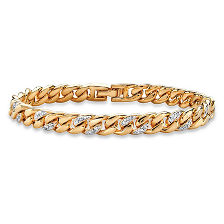 Pave Diamond Accent Curb-Link Bracelet 18k Yellow Gold-Plated 7