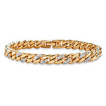 SETA JEWELRY Pave Diamond Accent Curb-Link Bracelet 18k Yellow Gold-Plated 7