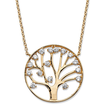 1.15 TCW Round Cubic Zirconia Tree of Life Pendant Necklace 14k Gold-Plated at PalmBeach Jewelry