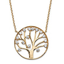 SETA JEWELRY 1.15 TCW Round Cubic Zirconia Tree of Life Pendant Necklace 14k Gold-Plated