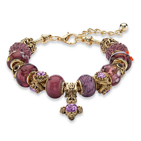 "Purple Crystal Bali-Style Beaded Charm Bracelet in Antiqued Gold Tone 8""-10"" at PalmBeach Jewelry"