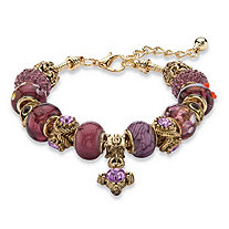 "Purple Crystal Bali-Style Beaded Charm Bracelet in Antiqued Gold Tone 8""-10"""