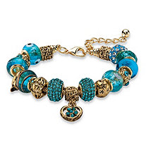 "Blue Crystal Bali-Style Beaded Charm Bracelet in Antiqued Gold Tone 8""-10"""