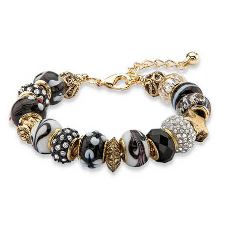 """Black and White Crystal Bali-Style Beaded Charm Bracelet in Antiqued Gold Tone 8""""-10"""" at PalmBeach Jewelry"""
