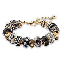 "Black and White Crystal Bali-Style Beaded Charm Bracelet in Antiqued Gold Tone 8""-10"""