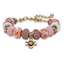 "Pink Crystal Bali-Style Beaded Charm Bracelet in Antiqued Gold Tone 8""-10"""