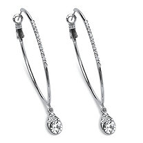"Crystal Hoop Teardrop Earrings in Silvertone (1 1/2"")"