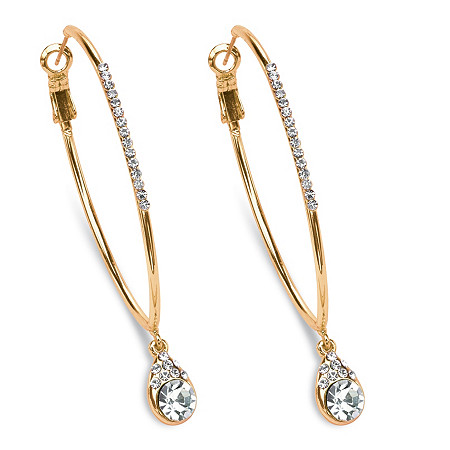 "White Crystal Hoop Teardrop Earrings in Gold Tone (1 1/2"") at PalmBeach Jewelry"