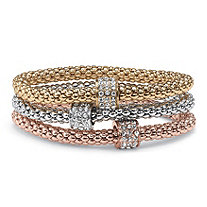 Crystal Beaded Tri-Tone Stretch Rope Bracelet Set in Gold Tone, Rose Gold-Plate and Silvertone 8""