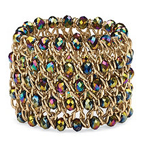 Round Mystic Crystal Curb-Link Chain Stretch Bracelet in Gold Tone 8""