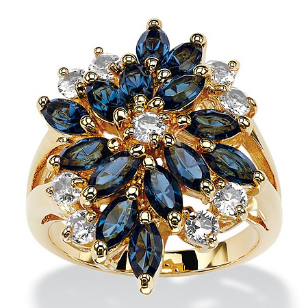 Marquise-Cut Sapphire Blue and White Crystal Cluster Ring 18k Gold-Plated. at PalmBeach Jewelry