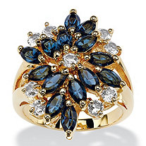 Marquise-Cut Sapphire Blue and White Crystal Cluster Cocktail Ring 18k Gold-Plated