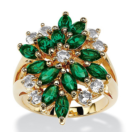 Marquise-Cut Emerald Green Crystal Cluster Cocktail Ring MADE WITH SWAROVSKI ELEMENTS 18k Gold-Plated at PalmBeach Jewelry