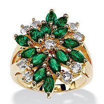 Marquise-Cut Simulated Emerald Green Crystal Cluster Cocktail Ring 18k Gold-Plated