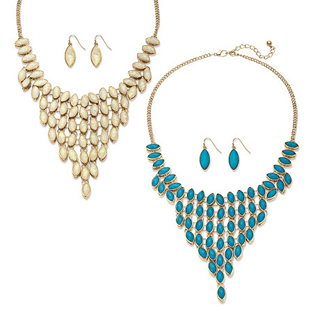 Marquise-Cut Simulated Turquoise and Opal 3-Piece Reversible Necklace and Earrings Set in Gold Tone at PalmBeach Jewelry