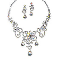 "Swirl and Flower Aurora Borealis Crystal Necklace and Drop Earrings Set Platinum-Plated 18""-20.5"""