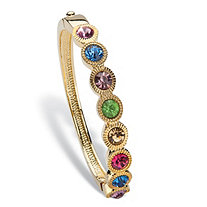 Round Multicolor Crystal Halo-Style Bangle Bracelet in Gold Tone 8""