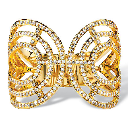 Round Crystal Hinged Bangle Bracelet in Gold Tone at PalmBeach Jewelry