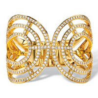 Round Crystal Hinged Bangle Bracelet In Gold Tone ONLY $5.99