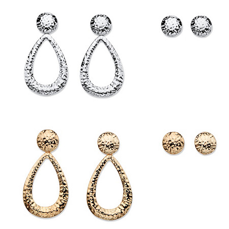 Hammered-Style Four-Pair Set of Stud and Drop Earrings in Gold Tone and Silvertone at PalmBeach Jewelry