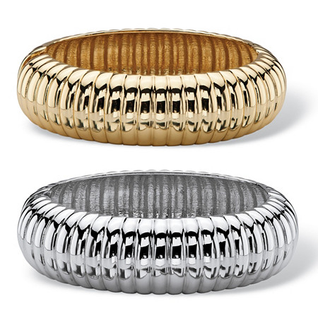 Shrimp-Style Two-Piece Bangle Bracelet Set in Gold Tone and Silvertone at PalmBeach Jewelry