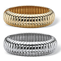 Shrimp-Style Two-Piece Bangle Bracelet Set in Gold Tone and Silvertone