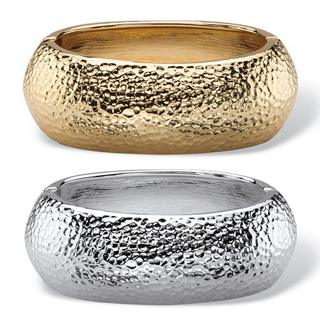 Hammered-Style Two-Piece Hinged Bangle Bracelet Set in Gold Tone and Silvertone at PalmBeach Jewelry
