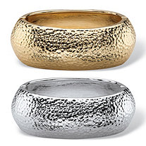Hammered-Style Two-Piece Hinged Bangle Bracelet Set in Gold Tone and Silvertone