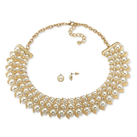 "Simulated Pearl and Crystal Necklace and Stud Earrings Two-Piece Set in Gold Tone 17""-19"" at PalmBeach Jewelry"