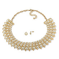 "Simulated Pearl and Crystal Necklace and Stud Earrings Two-Piece Set in Gold Tone 17""-19"""
