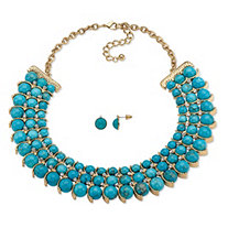"Simulated Turquoise and Crystal Two-Piece Necklace and Earrings Set in Gold Tone 17""-19"""