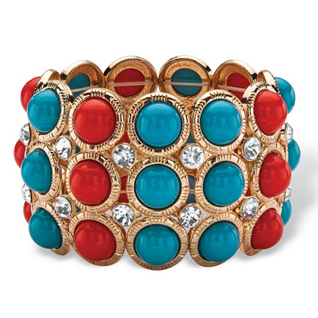 Red and Blue Bead and Crystal Stretch Bracelet in Gold Tone 8