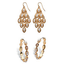 "Marquise-Shaped Simulated Pearl Two-Pair Chandelier and Hoop Earrings Set in Gold Tone (1.5"")"
