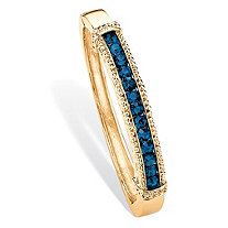 Round Pave Simulated Blue Sapphire Crystal Bangle Bracelet in Gold Tone 8""