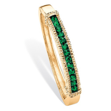 "Round Pave Simulated Green Emerald Bangle Bracelet 3.24 TCW in Gold Tone 8"" at PalmBeach Jewelry"
