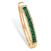 Round Pave Simulated Emerald Green Crystal Bangle Bracelet in Gold Tone 8""