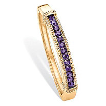 Round Pave Simulated Purple Amethyst Crystal Bangle Bracelet in Gold Tone 8""